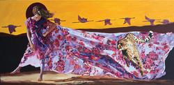 巜远古呼唤》大型系列組画节选一一《有条丝路在呼喚》现代重彩画