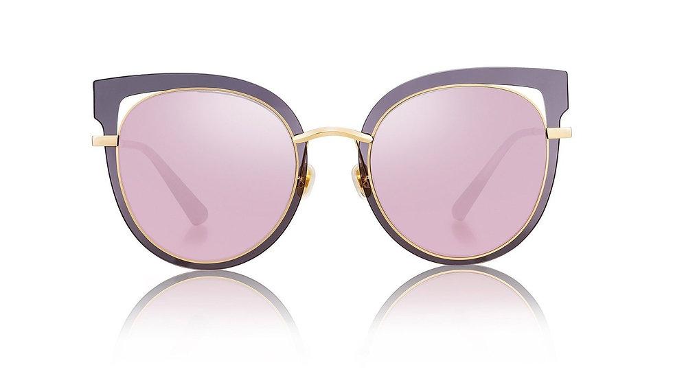 Bolon Eyewear BL7013 gafas de Sol Cat Eye front View Purple and Gold Frame