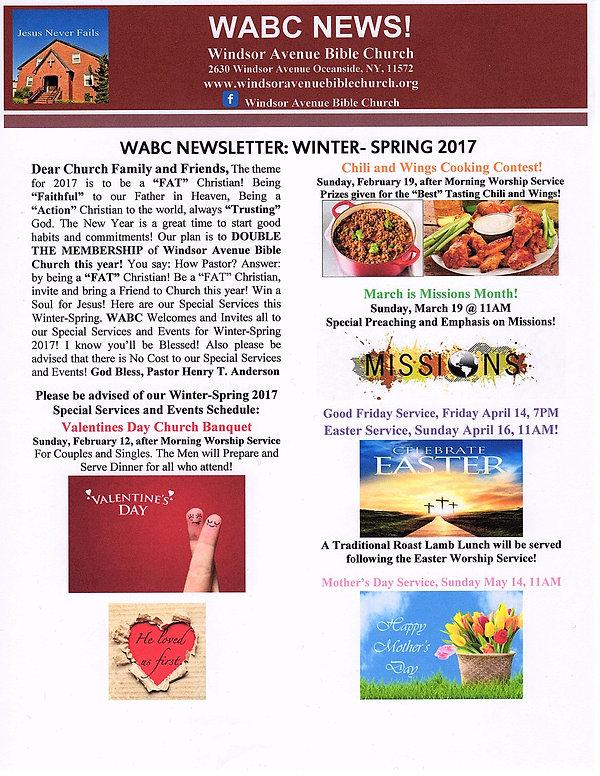 Newsletter Windsor Avenue Bible Church Oceanside NY
