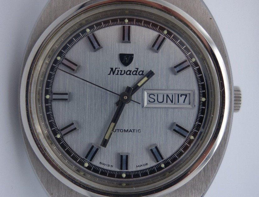 NNOS Nivada Automatic Day Date Double Quickset 1969