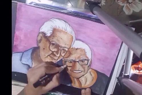 Desenho em aquarela com 2 pessoas