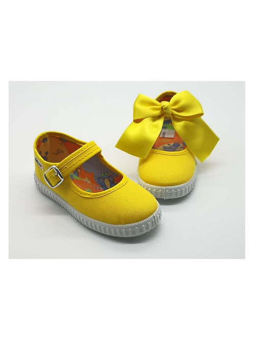 Yellow Canvas Bow Mary Janes