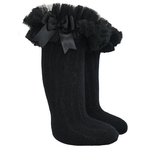 Black Knee Frilly Socks
