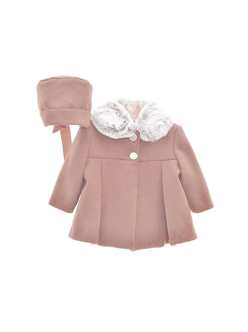 Del Sur Coat with Fur Collar & Bonnet - Pink