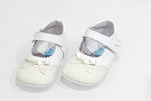 Beige Two Tone Bow Pram Shoes