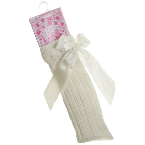 Cream Bow Socks