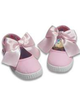 Canvas Mary Janes With Bow