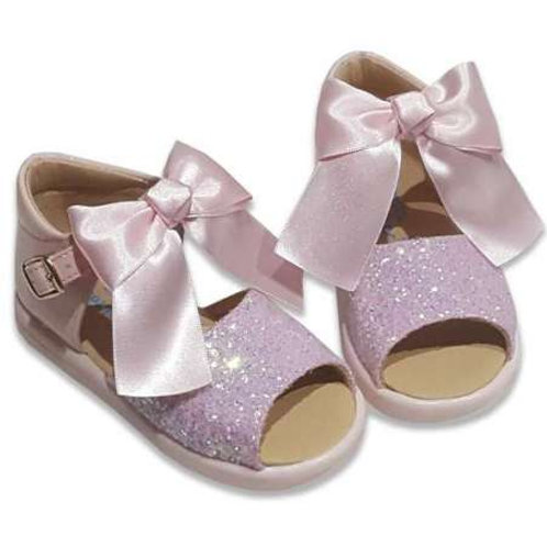 Angelitos Glitter Sandals With removeable Bow