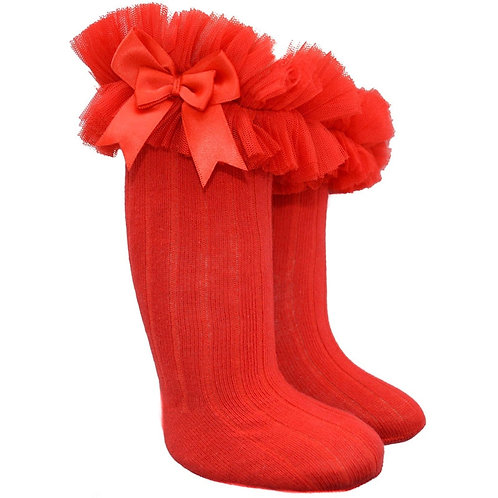 Red Knee Frilly Socks