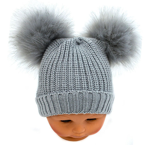 Double fur pom pom hat