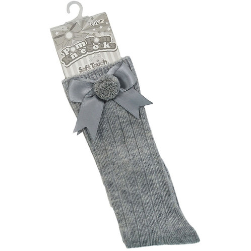Grey Ribbed Knee High Socks With Pom