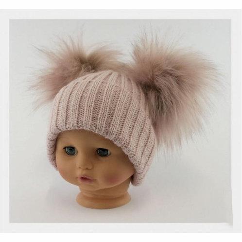 Double fur pom pom hat  - 0 -24m