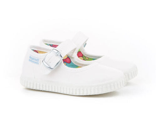 White Canvas Mary Jane Shoes
