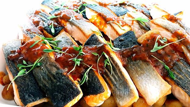 Roasted salmon fillets, gnocchi, boudran