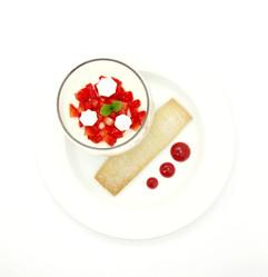 Strawberry and vanilla panna cotta