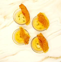Chilled melon soup, cripy prosciutto and basil oil