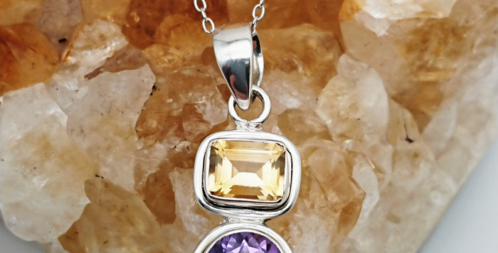 Sterling Silver Amethyst & Citrine Pendant with Sterling Silver Chain
