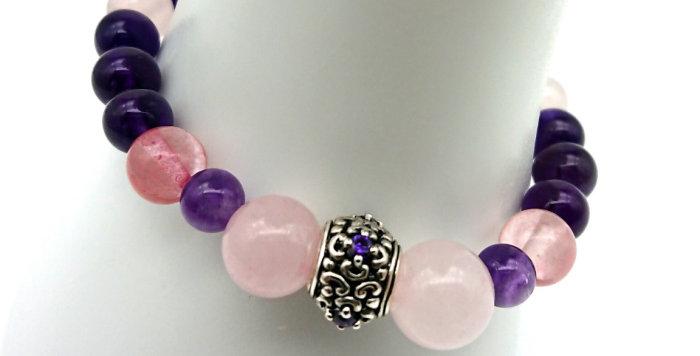 Dream Big Bracelet - Rose & Strawberry Quartz, Amethyst