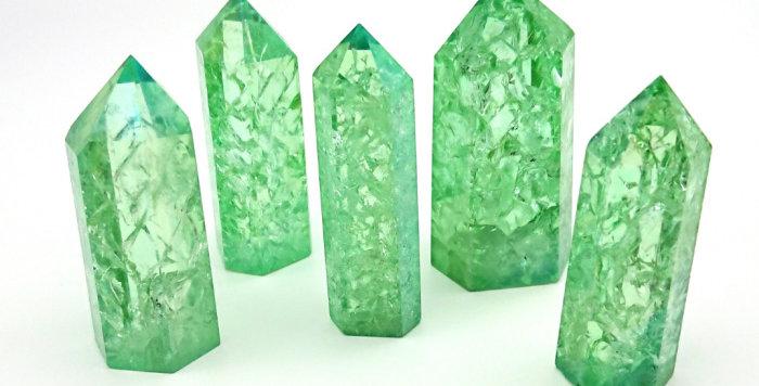 Green Crackle Aura Quartz High Vibration Generator