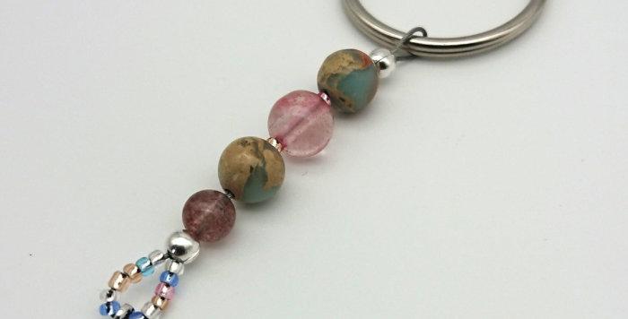 Loving Vibes Keychain – Cherry & Strawberry Quartz, African Opal Jasper