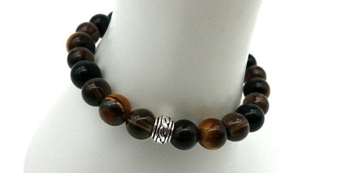 Protected by Angels Bracelet - Tigers Eye, Smokey Quartz, Black Obsidian