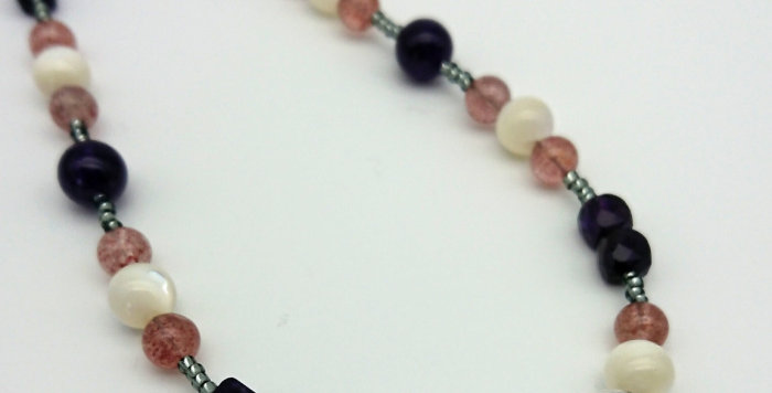 Violet Mist Necklace -  Amethyst,Clear & Strawberry Quartz, Mother of Pearl