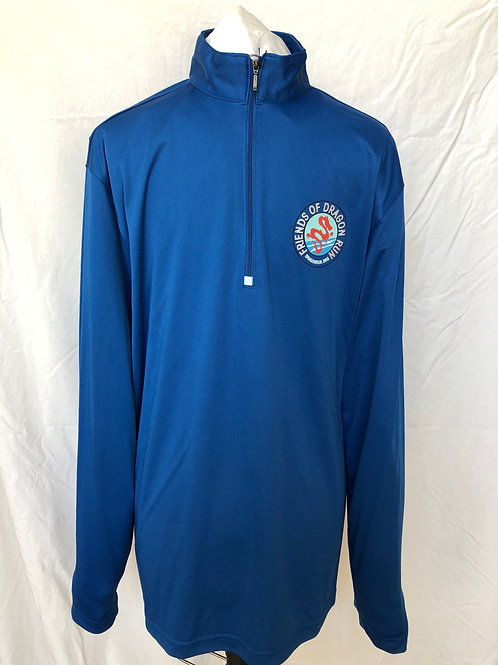 Quarter Zip Long Sleeve Tee Shirt Blue