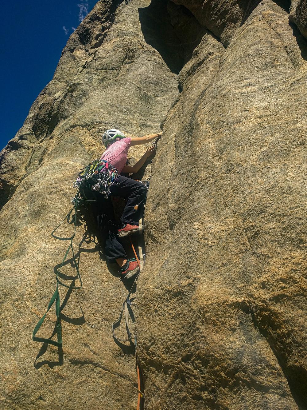 Aid Climbing training in Boulder Canyon, Colorado.