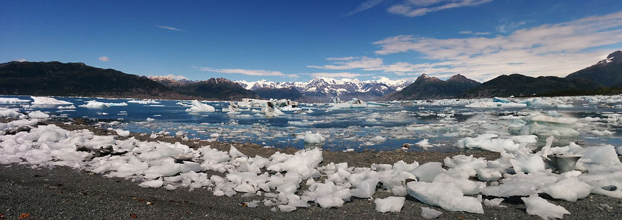 Resting for lunch on the Columia Glacier Bay as part of our daily Kayak trip to the glacier.