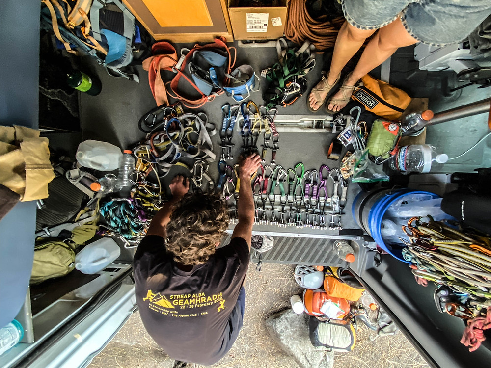 Arranging the gear in our van before climbing a big wall on El Capitan.