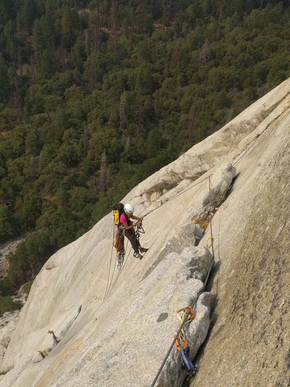 Using some rope skills and doing rope maneuvers on El Capitan while climbing The Nose.