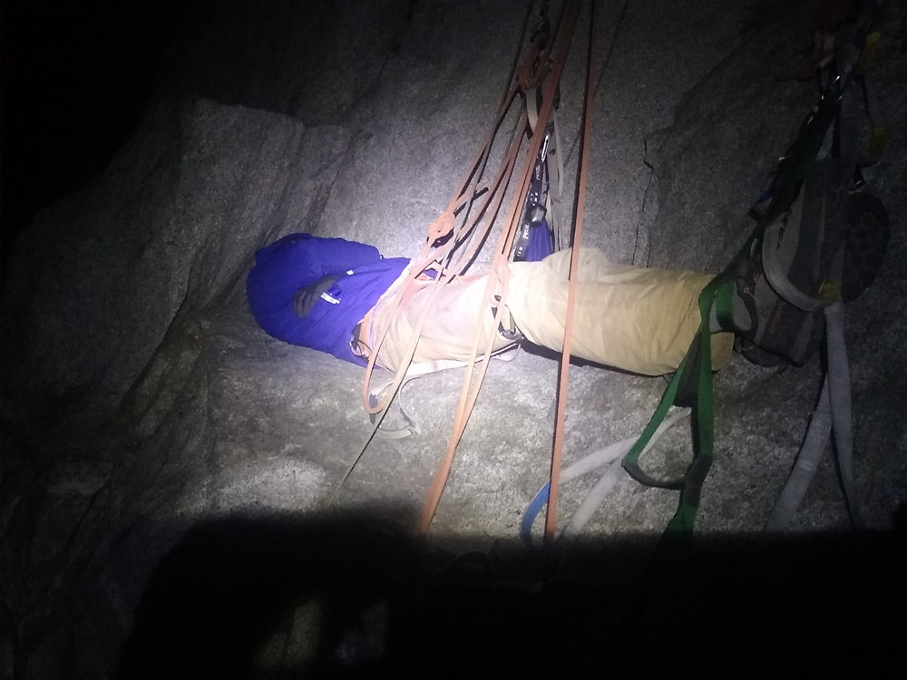 Uncomfortable night on The Nose of El Capitan, on Camp 4.