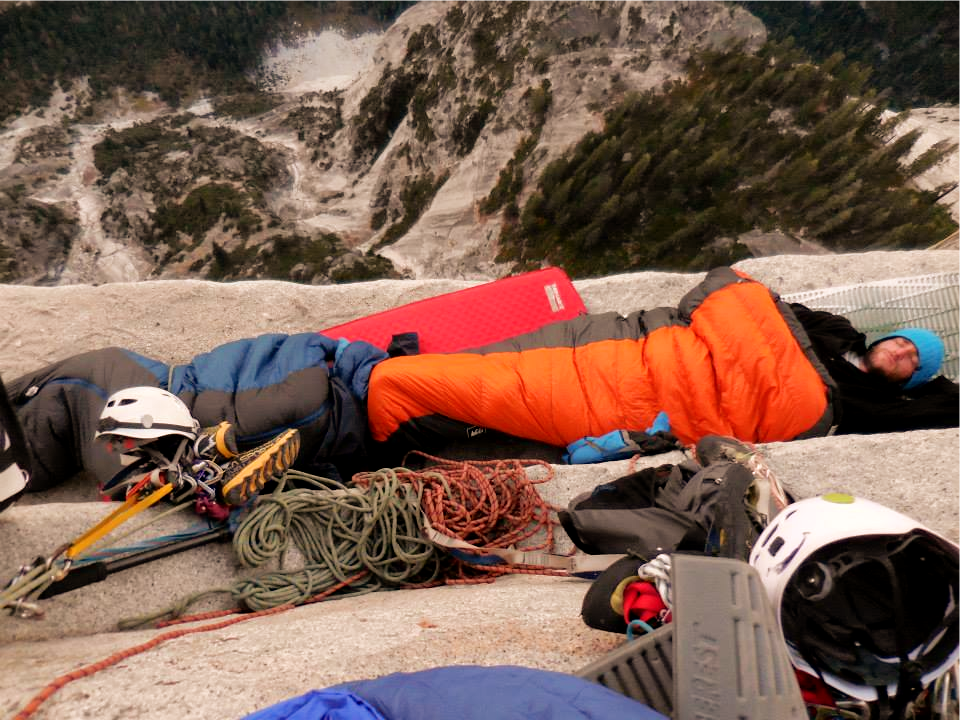 Staying the night on Pitch 17 on the N.W Face of Half Dome.