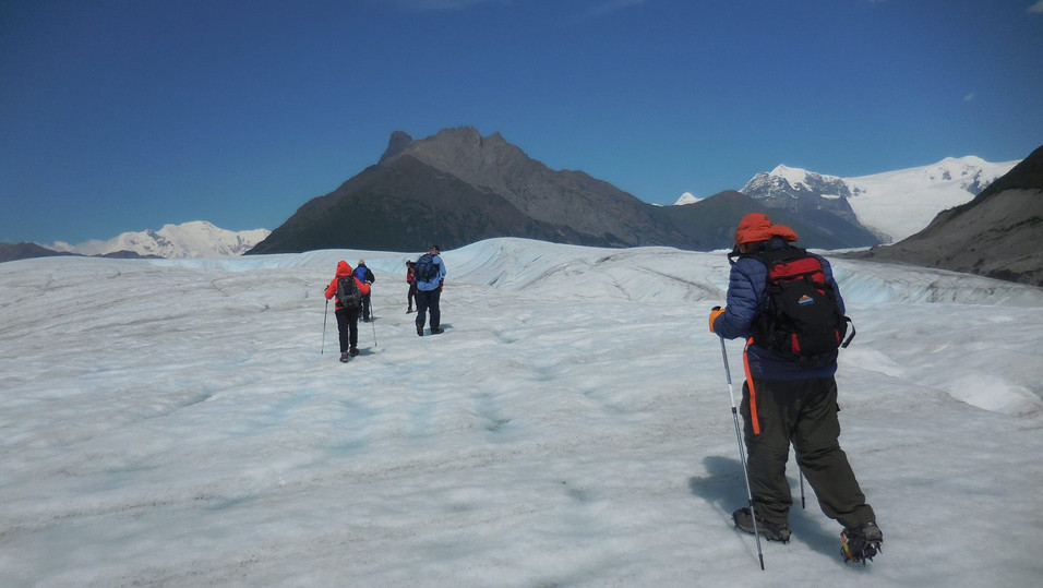 Doing our way up hill on the Root Glacier, Wrangell St. Elias NP. Photo by Ido Gayer
