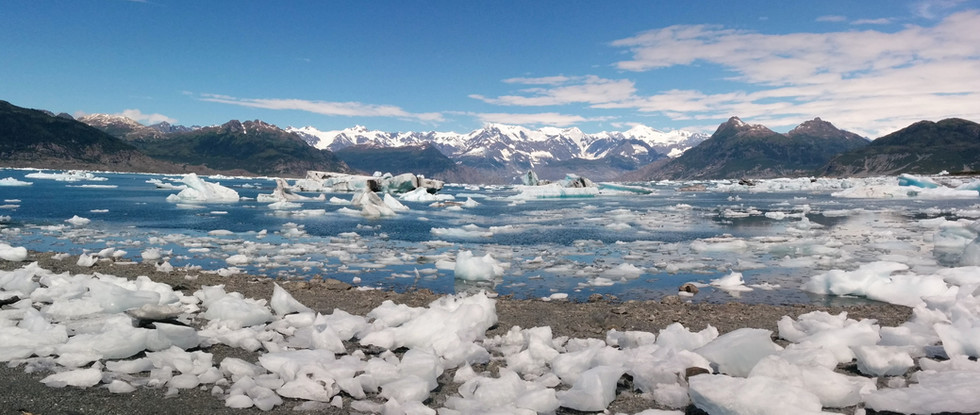 A Bay full of bergis and in the background the source of the icebergs - Chugach Mountains. Photo by Ido Gayer.