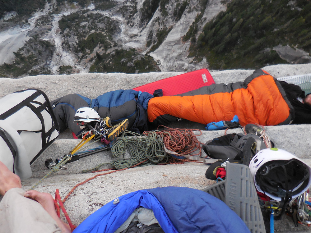 """""""Big Sandy Ledge"""" the only and best bivy up N.W Face of Half Dome."""