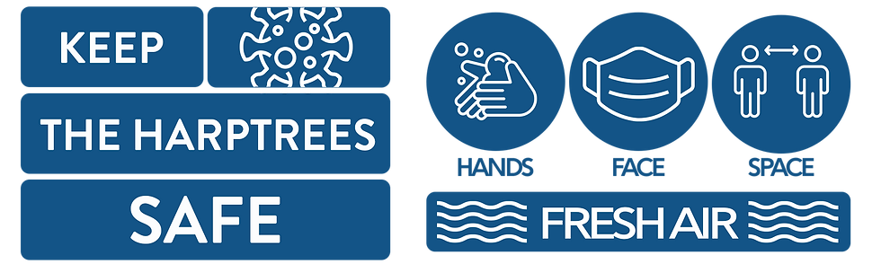 Hands, face, space and fresh air.  Keep The Harptrees safe.