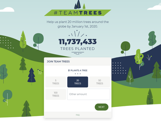 #TeamTrees 20 Million Trees planted by 2020!