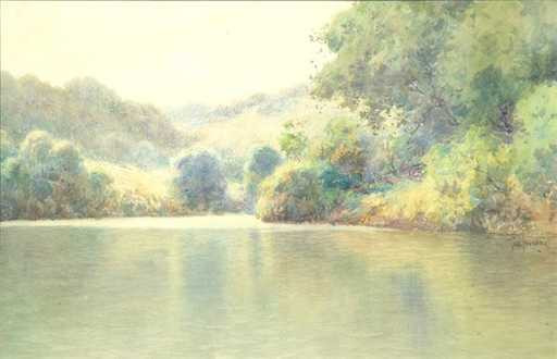 "Paul Sawyier watercolor ""Ky River at Canoe Creek"""