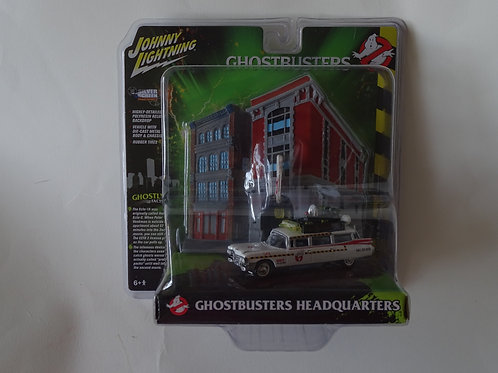 Ghostbusters Headquarters and Ecto-1A 1959 Cadillac 1:64 model