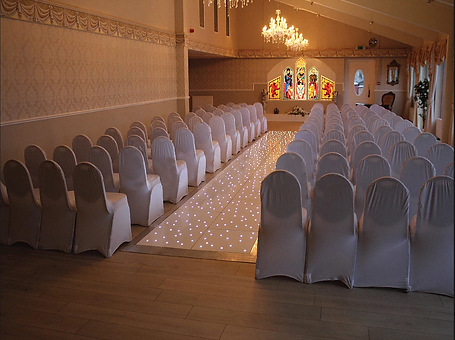 starlit aisle at wedding ceremony