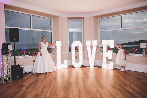 light up love letters at wedding reception