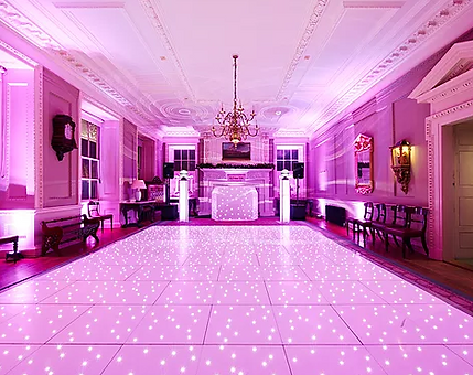 themed room uplighting for wedding event