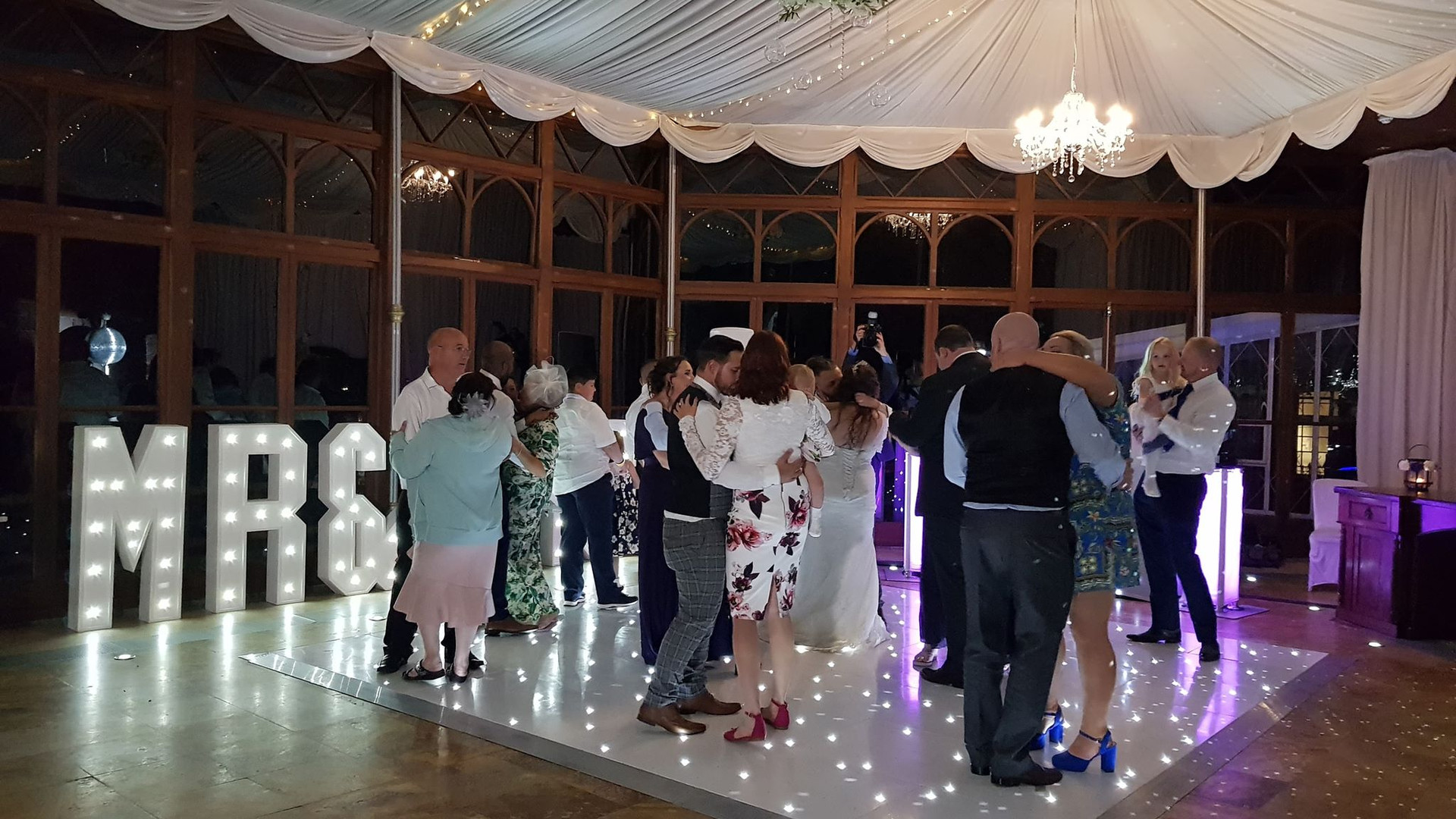 12ft Starlit Dance Floor & LED 'MR & MRS' Letters