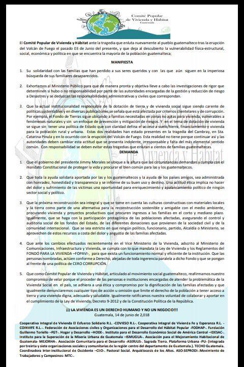 Comunicado Comité Popular de Vivienda y Hábitat Guatemala