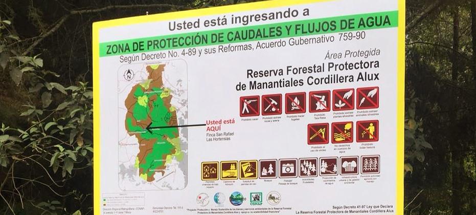 Finca San Rafael, reserva forestal protectora de manantiales Cordillera Alux