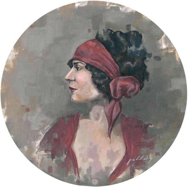 """Mujer con lazo rojo"""