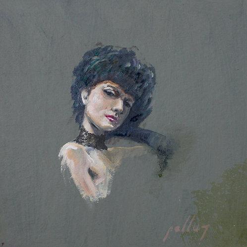 Retrato de mujer con fondo verde