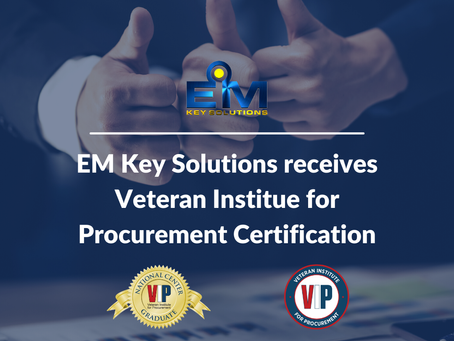 Exciting news we just recently have received the Veteran Institute for Procurement Certification!