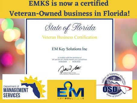 EMKS is pleased to announce we are now certified as a Veteran-Owned Florida Business Enterprise